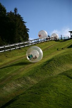 Zorbing! This looks so fun!!! Use it in the snow, water, land!? So cool! Wonder how much they cost......