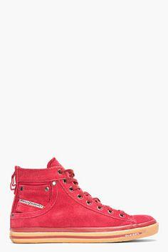 DIESEL RED SUEDE EXPOSURE I SNEAKERS - http://africanluxurymag.com/shop-item/diesel-red-suede-exposure-sneakers/