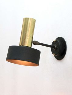 Boris Lacroix; Brass and Painted Metal Wall Light, 1950s.