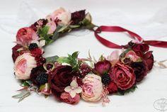 Ready to ship Burgundy wine pink flower crown by ByKochetova