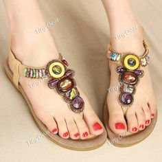 Summer Casual Handmade Beaded Comfort Rhinestones Rubber Women\'s Shoes Shoes DSH-395415