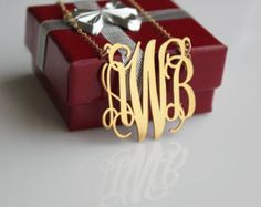 14 k monogram ne | SOLID 14K Gold Monogram Necklace, Personalized Jewelry, 1 Inch ...