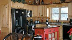 Tryon Kitchen designed by Blue Ridge Log Cabins for High Rock Rentals #loghomes #logcabins #vacationrentals #cabinrental #cabin