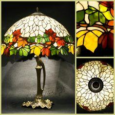 Louis Comfort Tiffany Studios New York Walnut Leaf table lamp, handcrafted by Wieniawa-Piasecki Workshop www.e-witraze.pl