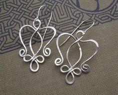 Celtic Angel Heart Sterling Silver Earrings  by nicholasandfelice, $ 22.00