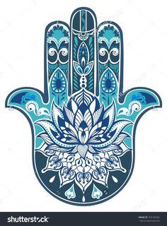 Vector Indian Hand Drawn Hamsa Symbol - 374146762 : Shutterstock