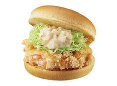 Lotteria's shrimp burger. The Kappa Ebisen Burger, priced at 380 yen (US$3.22), is made with ashrimp cutlet fried in a crust containing Kappa Ebisen chip crumbs.In addition, the tartar sauce used in the burger contains sakura shrimp