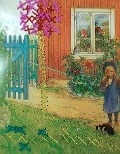 Carl Larsson Painting + Embroidery on paper = awesome exercise by Katarina Evans #broderi #embroidery From Bilder ur Ett Hem