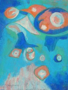 """Nesting Bird"" 14 x 18 Pastel. New abstract art by Becky Roesler. See more about this new series at www.beckyroeslerart.com."