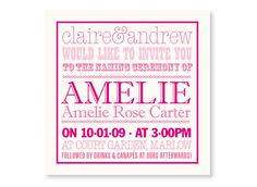 : : Bapstism invites, Christening invitations, naming ceremony invitations, personalised christening invitations, personalised birth announcement cards, contemporary christening invites, from Mooks : :