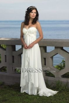 Sheath/Column Strapless  Sweetheart Chiffon Wedding Dress LOVE THIS!!!