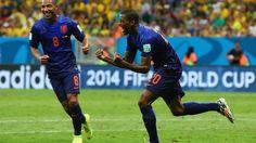 Georginio Wijnaldum of the Netherlands celebrates scoring  Brazil 0-3 Netherlands (Van Persie 3', Blind 17', Wijnaldum 90'+), Play-off for Third Place, Brazil 2014, Estadio Nacional, Brasilia - http://fifa.to/W8vkiL