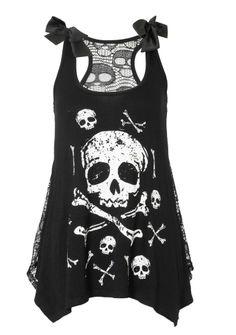 VooDoo Vixen Sexy Gothic Punk Skull Bones Black Lace top Emo lolita #Vixen #Casual