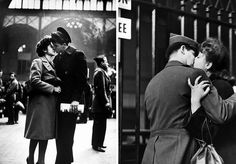 Soldier embracing his girlfriend while saying goodbye in Pennsylvania Station before returning to duty after a brief furlough, 1944. / photos by Alfred Eisenstaedt