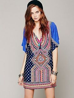 Free People Rabari Printed Kaftan. I just LOVE the patterns and colors on this thing!