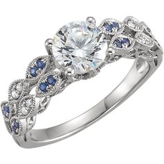 Style #651720 14kt White Gold. Sapphire & 1/10 CTW Diamond Semi-mount Engagement Ring for a 1ct Round Center | Stuller. Kraft's Fine Jewelry