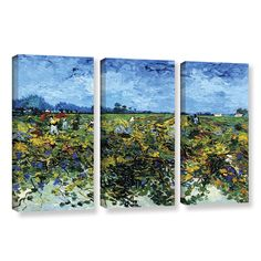 Green Vineyard by Vincent Van Gogh 3 Piece Painting Print on Gallery-Wrapped Canvas Set