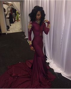 prom dresses with sleeves on sale at reasonable prices, buy Prom Dresses with Sleeves abendkleider High Neck Appliqued Beaded Long Sleeve Sexy Mermaid long fitted Evening Party Gowns 2017 from mobile site on Aliexpress Now! Black Girl Prom Dresses, Prom Dresses 2017, Prom Dresses Long With Sleeves, Unique Prom Dresses, Mermaid Prom Dresses, Gowns 2017, Prom Outfits, Wedding Dresses, Black Prom