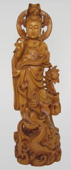 Chinese Wood carving Kwan Yin on Dragon