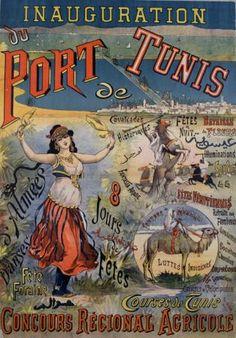 Inauguration du Port de Tunis vintage poster G90012 , Vintage Poster Market : Online Animals Posters & art illustrations, old reproduction