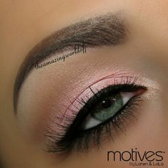 View 2 - Simple Pink Valentine's Day Makeup with Motives at Motives Cosmetics.co/wisebuy247. Step-by-step: 1. Apply Motives Eye Base followed by Pressed Eye Shadow in Heiress all over the lid, slightly blended out with Pressed Eye Shadow in In The Buff. 2. Swipe Pressed Eye Shadow in Liquid both on the brow bone and the tear duct.  Continued in View 3.