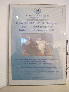 Il manifesto dell'inaugurazione dell'Hospice 8 dicembre 2001
