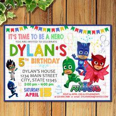 Pj Masks Invitation Birthday Party Superheroes