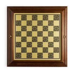 22 Inch Italian Worm Wood/Brass Chess Cabinet - 308