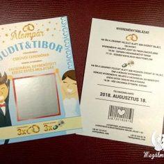Kaparós sorsjegy meghívó 1. #esküvői #meghívó #nyomtatott #esküvőimeghívó #kaparóssorsjegy #egyedi #wedding #weddinginvitation  #unique #scratchcards #cute #brideandgroom Wedding Cards, Wedding Invitations, Event Ticket, Books, Card Stock, Wedding Ecards, Libros, Wedding Maps, Wedding Invitation Cards
