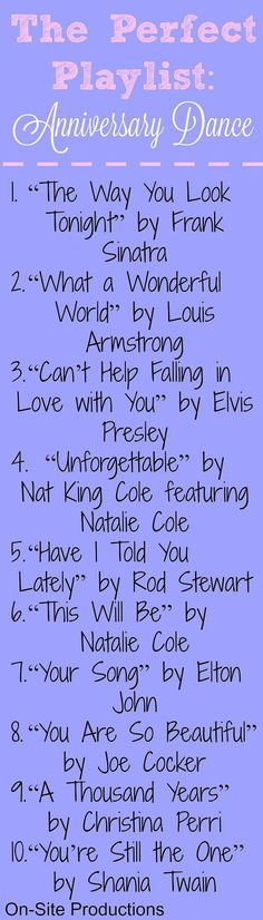 Beautiful songs for an anniversary dance at my wedding--or just to play for a slow dance! Anniversary Year List, Anniversary Ideas For Couples, Anniversary Celebration Ideas, Parents Anniversary Gift, 25th Wedding Anniversary Party Ideas, 50th Anniversary Quotes, Celebration Music, 50th Anniversary Decorations, Aniversary Ideas