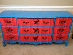 Spider-Man dresser I painted for little man's room. Upscale Furniture, Kids Furniture, Marvel Bedroom, Avengers Room, Boy Dresser, Superhero Room, Baby Boy Rooms, Kids Rooms, Man Room