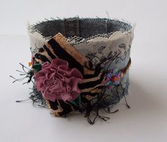 002 Pretty Shabby Chic Upcycled Denim Cuff With by Serenitybeads, $10.00