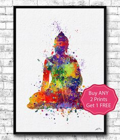 Buddha Watercolor Print Buddha Wall Art Yoga Print Giclee Home Decor Meditation Wall Hanging Buddha Art Buddha Poster Yoga Poster Zen decor  This Colorful Buddha Poster is archival art print of my original watercolor digital illustration.  Here you can see my works of Painted glass: https://www.etsy.com/shop/HandPaintedGlassArtS  ❀ BUY 2, GET 1 FREE!  ❀ LIMITED TIME ONLY  ❀ Buy ANY 2 prints and get one free (of the same size- equal or lesser value of lowest priced print).  ❀ Send me the…