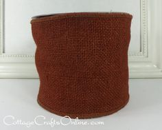 """Rust red brown burlap, 4"""" wide, with a wired edge, 100% natural jute by d stevens ribbon, producer of high end luxury ribbons. Unusual shade! From the Cottage Crafts Online shop on Etsy."""