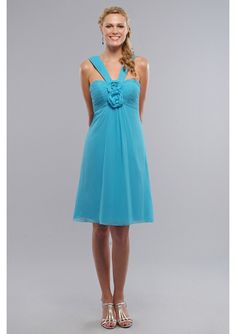 Romantic blue Chiffon V-Neck Empire short bridesmaid dress