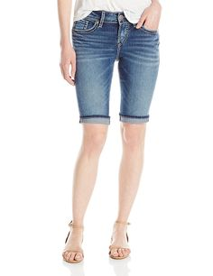 Silver Jeans Women's Suki Midrise Rise Medium Wash Bermuda Short ** This is an Amazon Affiliate link. Want to know more, click on the image.