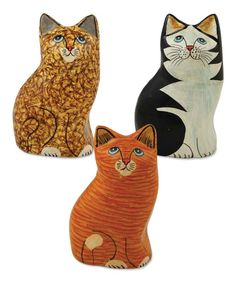 - Whimsical sitting cats. - Paper mache. - 3 Assorted. - 5 x 3. - Bethany Lowe Designs. - Imported.