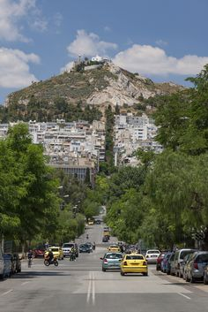 Mount Lycabettus seen from Pangrati, Kolonaki, Athens, Attica_ Greece