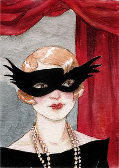 At the Masked Ball ACEO Limited Edition by TheBrilliantMagpie, $5.00