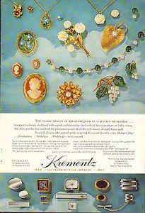 1967 Krementz Fine Jewelry Magazine Print Ad Cameo Necklaces Rings Vintage Ad
