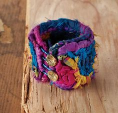 "Harlequin Bracelet - Featured in ""Locking Loops"" book - Locker hooked on linen burlap with recycled silk."
