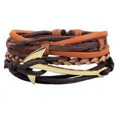 1 Set 4PCS leather bracelet Men's multi-layer [24 variation]