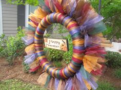 Autumn Thanksgiving Organza Wreath with Happy Harvest Plaque - pinned by pin4etsy.com