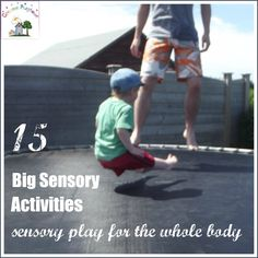 "15 Big Sensory Activities | Creative Playhouse   ""They allow the child (or parent!) to feel movement, momentum, pressure, weightlessness, impact with their WHOLE BODY, not just their fingers or mouth. These activities can improve mood, well being, health, gross motor development, balance, strength, among many other things."""