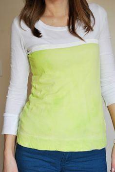 Such a great idea. DIY color block shirt. This blog has tons of great ideas!