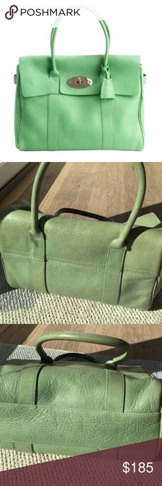 """Mulberry East West Bayswater handbag Guaranteed authentic Mulberry light green leather signature East West Bayswater bag. This is the small size one, approx 10x9 and 4"""" wide with 4.5"""" strap drop. Some light fading wear to the leather but still tons of life left. No dustbag. Beautiful color. This is an older style so the one im selling doesnt have that key fob thing thats in stock photo and it doesnt have a serial number since its an older style. Its a bit different size wise from the first…"""