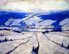 """ The Valley in December (Clarence Gagnon - ) "" Clarence Gagnon November 1881 – 5 January was a Canadian painter from the province of Quebec. Winter Landscape, Landscape Art, Landscape Paintings, Canadian Painters, Canadian Artists, Winter Trees, Winter Art, Winter Light, Clarence Gagnon"