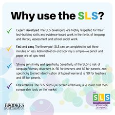 SLS Screener for Language & Literacy Disorders Literacy Assessment, School Social Work, Have You Tried, Dyslexia, Writing Skills, Disorders, Students, Language, Learning