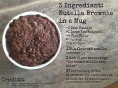 Nutella Brownie in a Mug. Use the sugar free nutella from another post Mug Recipes, Nutella Recipes, Fun Baking Recipes, Microwave Recipes, Sweet Recipes, Cooking Recipes, Mug Cake Microwave, Microwave Brownie, Nutella Snacks