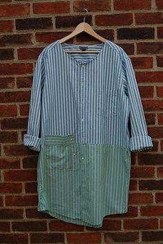 Clever Karen: Oxford Shirt Art Smocks - Tutorial Wouldn't combine those colors per Se but still, cool refashion shirt! Umgestaltete Shirts, Men's Shirts And Tops, Diy Clothing, Sewing Clothes, Sewing Coat, Dress Sewing, Blouse Art, Shirt Art, Diy Fashion